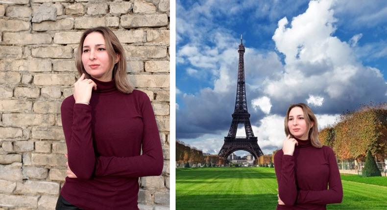 Bild vor und nach Änderung des Hintergrunds