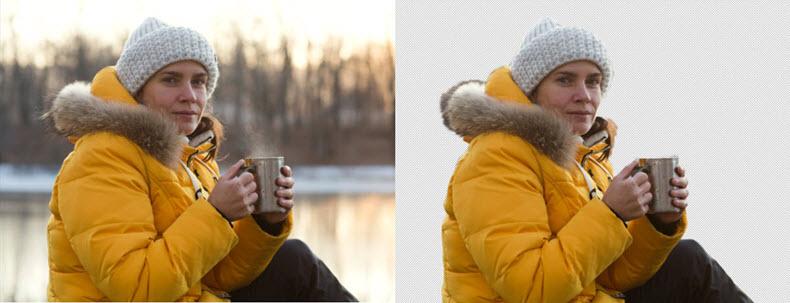 Vor und nach des Entfernen vom Hintergrund