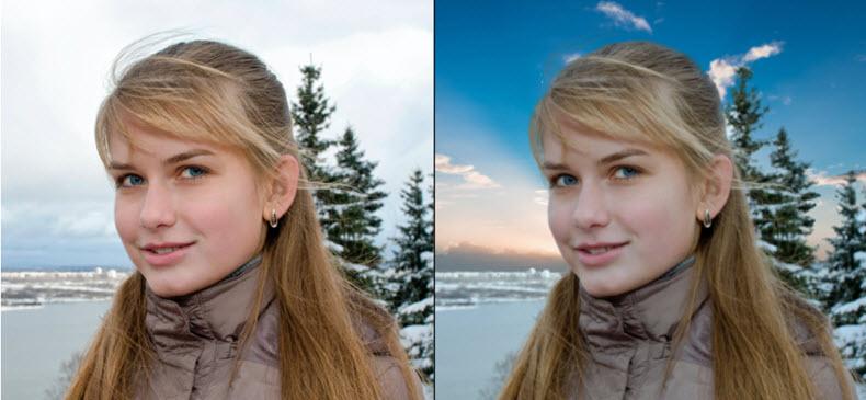 Vor und nachdem den Hintergrund des Fotos geändert wird