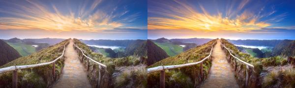 Image avant et après la correction automatique