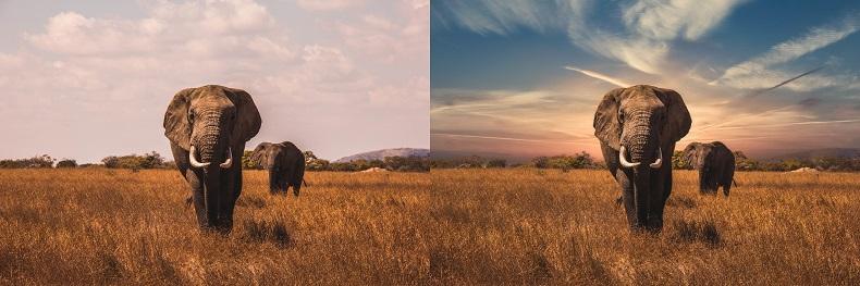 Image avant et après remplacement du ciel