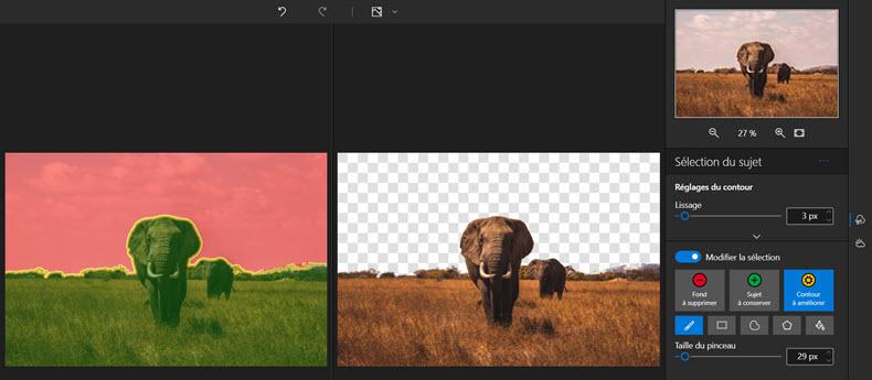 Interface Photo Studio - affiner la sélection