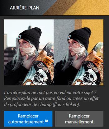 Interface Photo Studio - Onglet arrière-plan