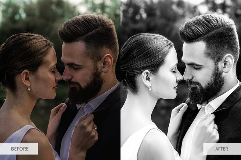 Before/after applying black and white preset