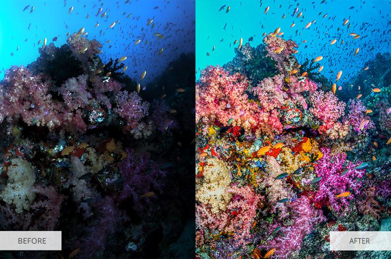 "Before/after applying ""underwater"" preset"