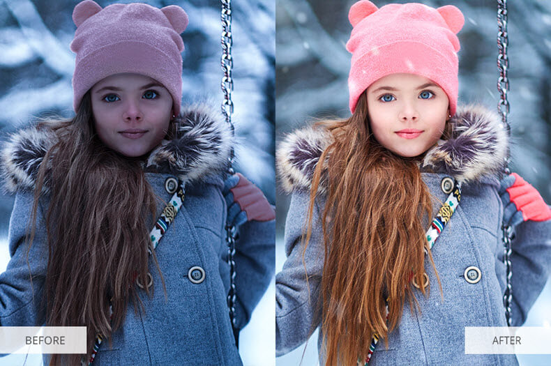 """Before/after applying """"let it snow"""" preset"""