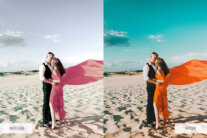"""Before/after applying """"Orange and teal"""" preset"""
