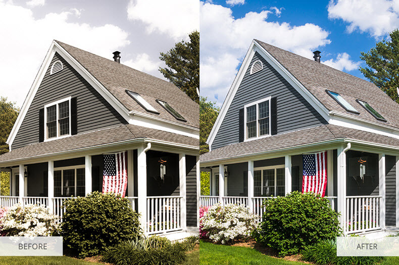 """Before/after applying """"real estate"""" preset"""