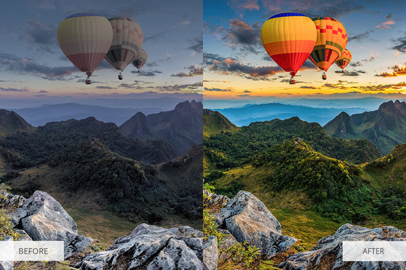"Before/after applying ""majestic landscape"" presets"
