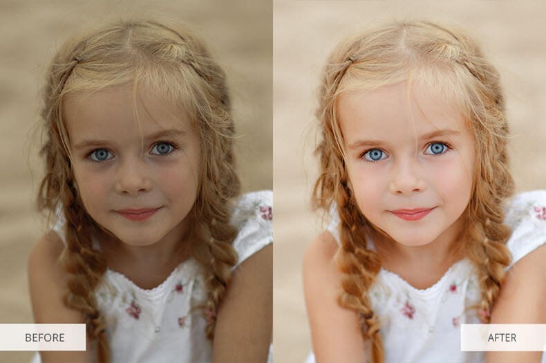 """Before/after applying """"Portrait Pro"""" preset"""