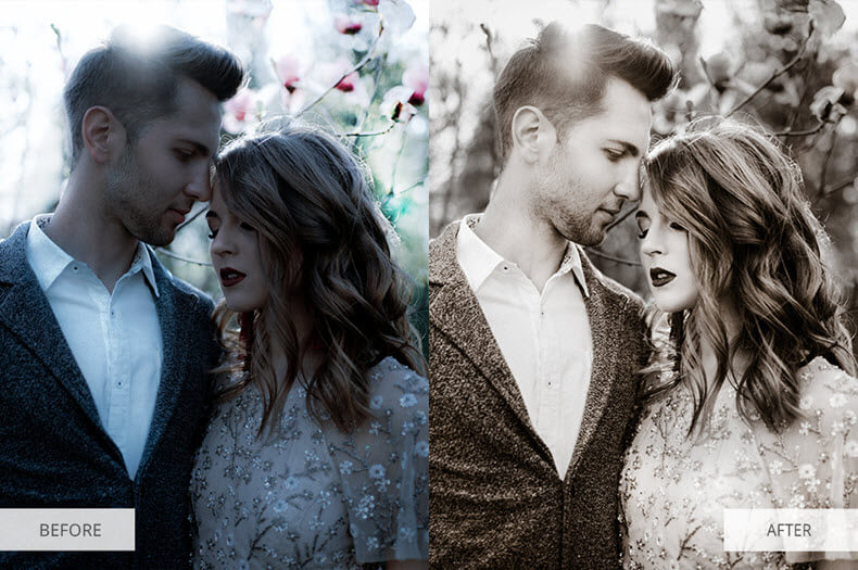"""Before/after applying """"sepia"""" preset"""