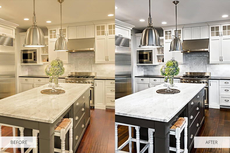 """Before/after applying """"Interior Photography"""" preset"""