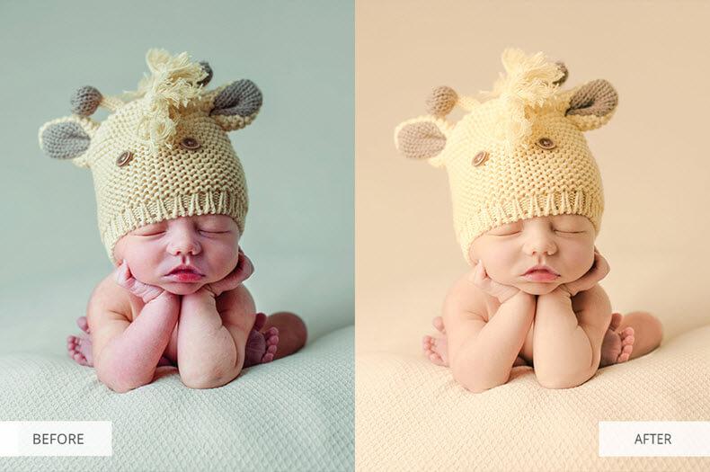 "Before/after applying ""newborn pro"" preset"