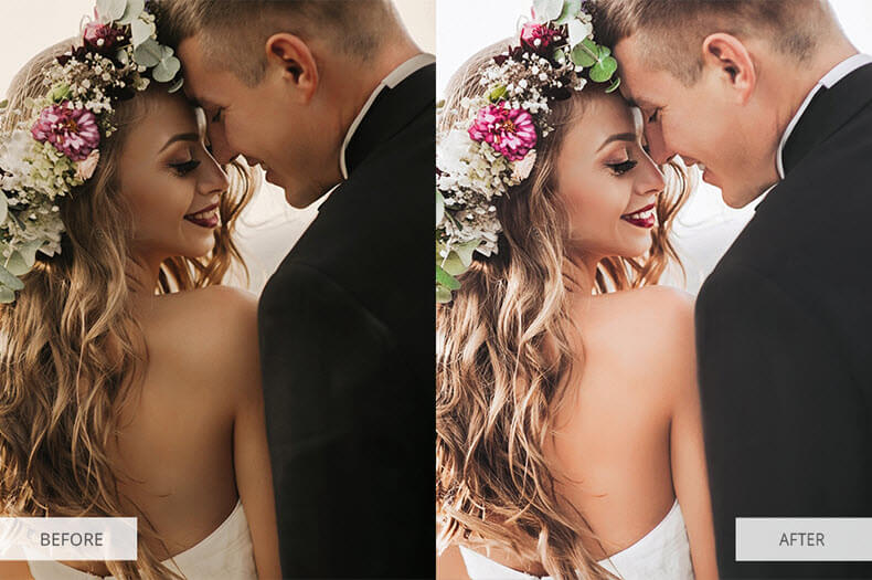 """Before/after applying """"Love"""" preset"""