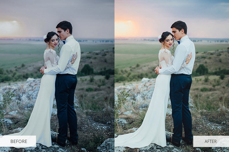 """Before/after applying """"Wedding Classic"""" preset"""