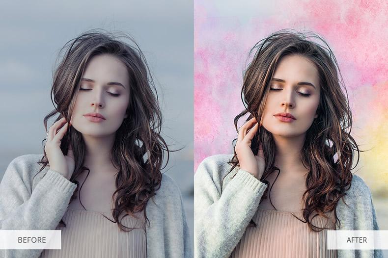 Lightcoral Watercolor Photoshop Overlays