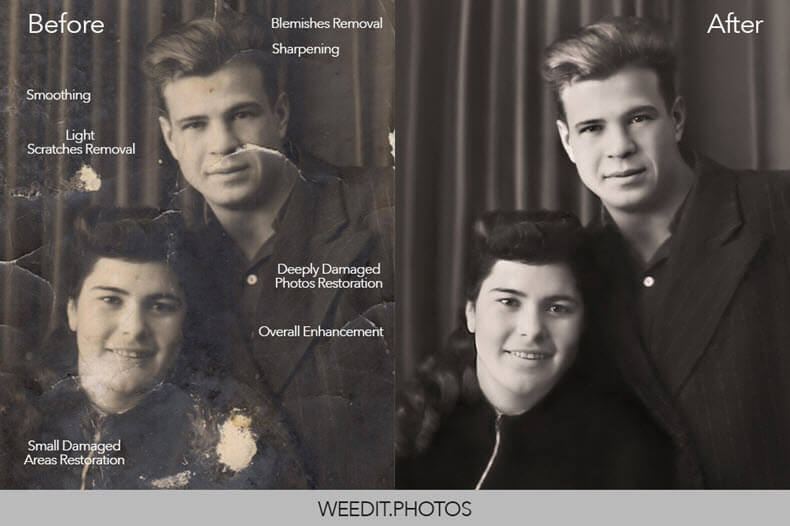 Before/after photo restoration with WeEditPhotos