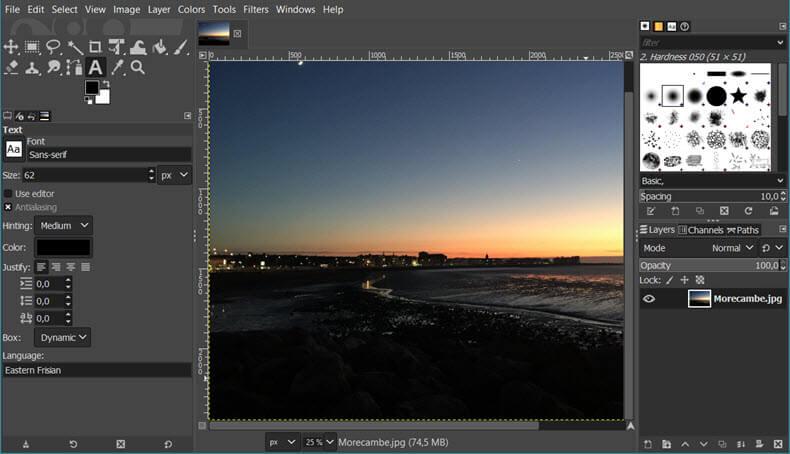 GIMP Photo Editor interface