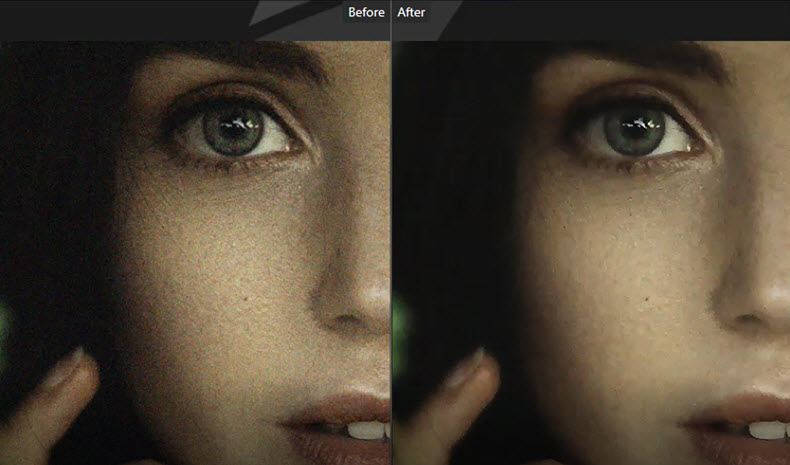 Before and after denoising photo