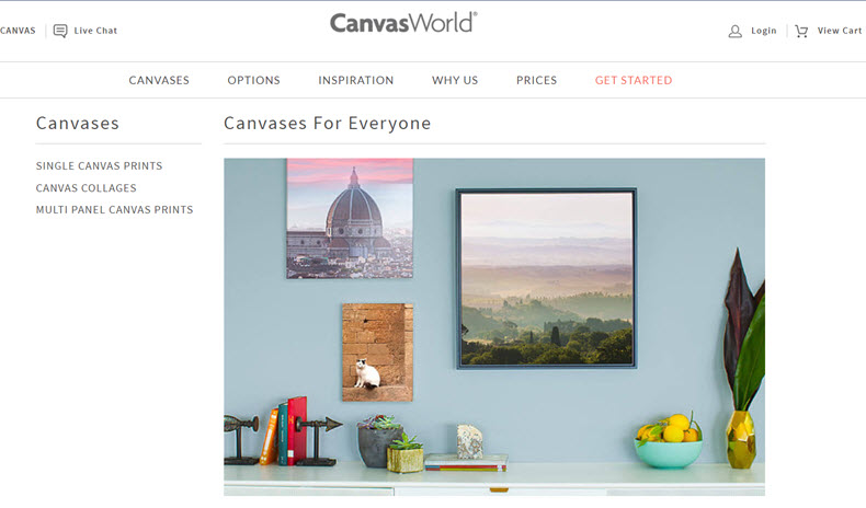 Canvas World Website for Canvas Prints