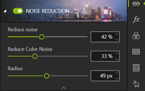 Noise reduction sliders