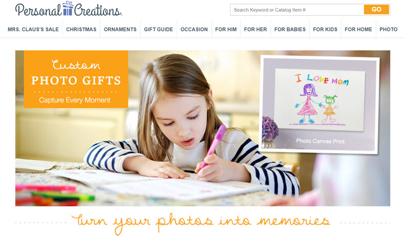 Personal Creations Photo Gifts Website