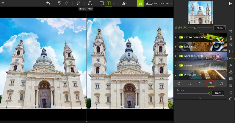 Before/after full perspective correction with Photo Editor