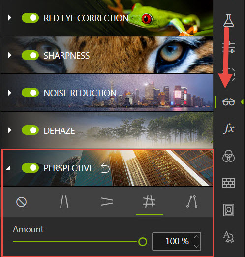 Perspective tool in Photo Editor