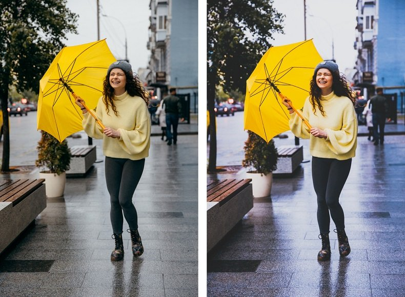 Before and after applying a LUT style