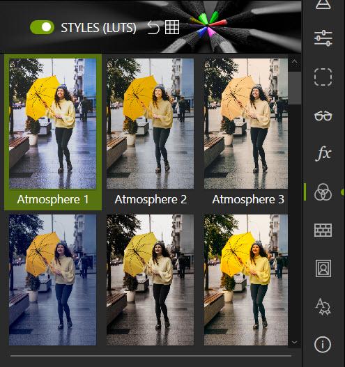 LUT styles tab