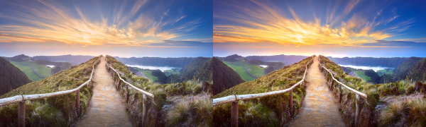 Image of landscape before and after inPixio one-click correction