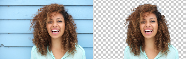 Portrait image before and after background removal