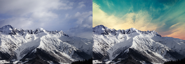 Image of mountains before and after inPixio sky replacement