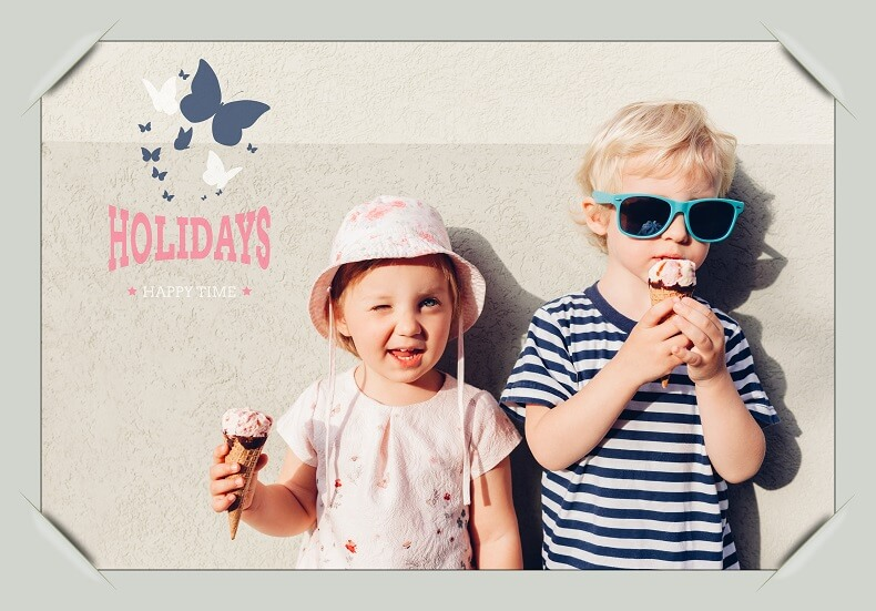 Two children eating icecream in summer photo shoot