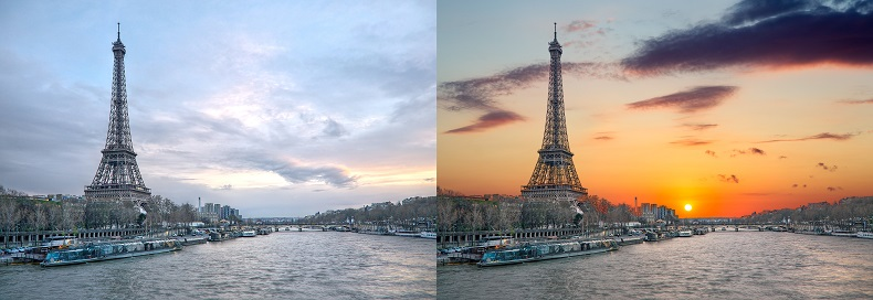 Eiffel Tower before and after AI sky replacement