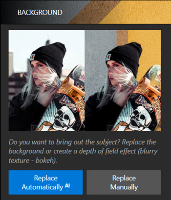 AI and Manual background removal options in Photo Studio interface