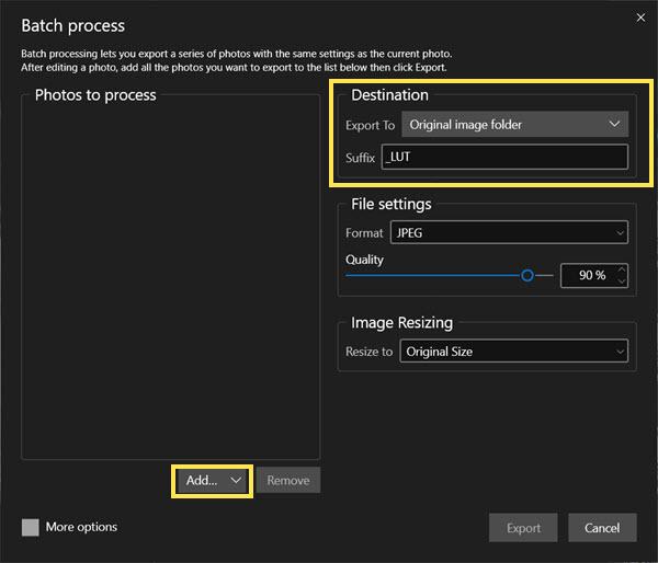 Batch editing options - add photos