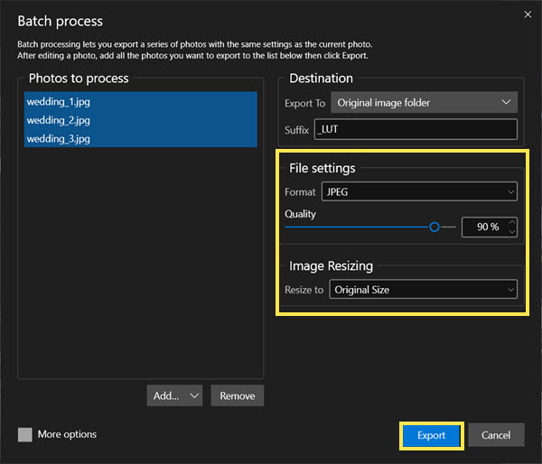 Batch editing options - export