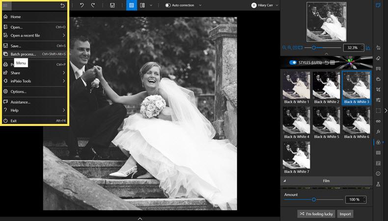 Batch editing in Photo Studio menu
