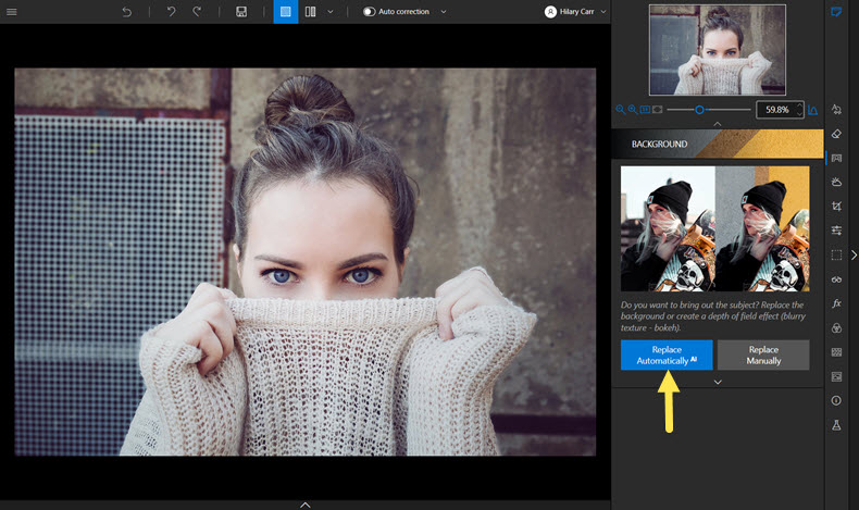 Background tab in Photo Studio interface