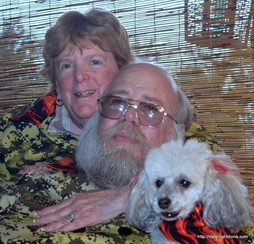Food bloggers, Ken and Patti Fisher with Rat the dog