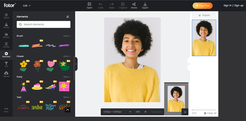 Fotor online photo editor- interface screenshot