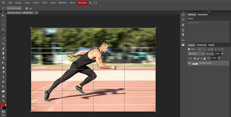 Photopea online photo editor interface screenshot