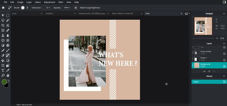 Free online Photoshop alternative Pixlr - interface screenshot