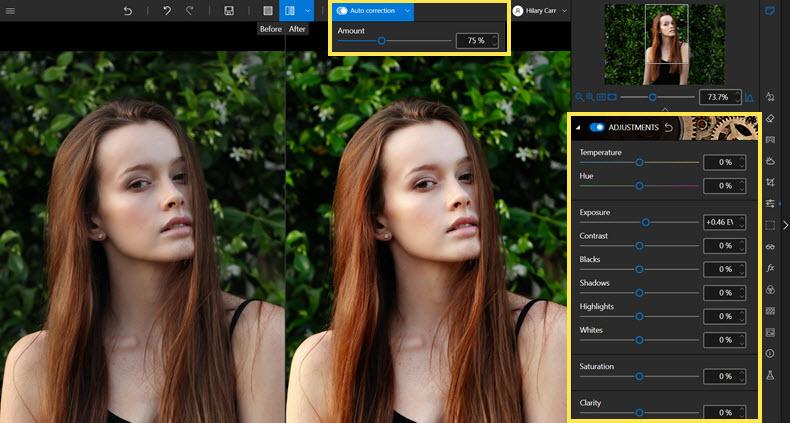 Adjusting settings in Photo Studio