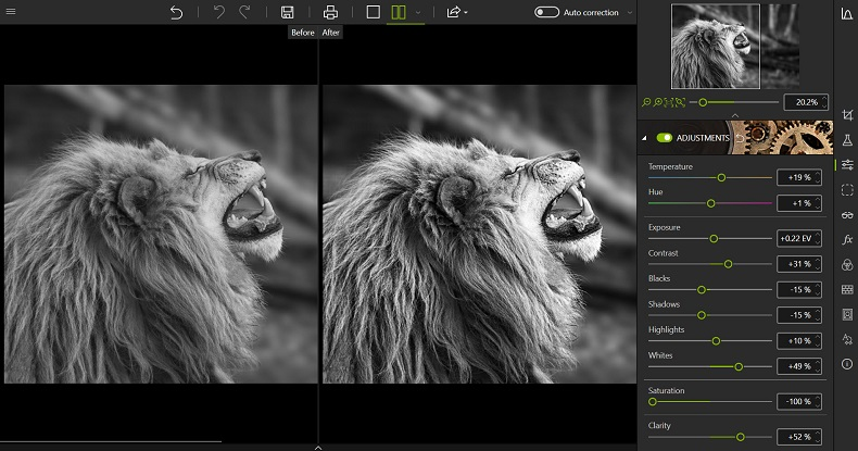 Adjusting the black and white photo