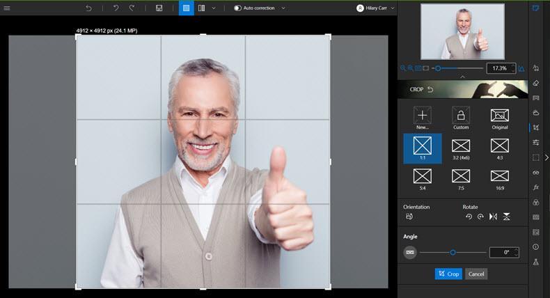 Cropping a portrait photo