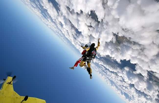 Skydivers With Plane